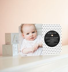 Black, white and sweet all over. Shop modern birth announcements for baby's first hello at www.tinyprints.com