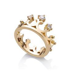 Nhẫn Kim cương Vương miện Nữ Hoàng   Diamond crown ring in 18k gold   Trang sức vàng   AME Jewellery