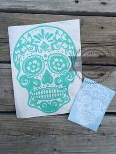 Sugar Skull Car Decal Skull Wall Decal Skull by TheDecalShoppeInc