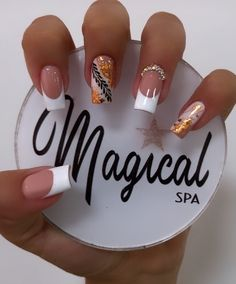 French Acrylic Nails, Simple Acrylic Nails, Best Acrylic Nails, Pink Ombre Nails, Gold Glitter Nails, Orange Nails, Classy Nails, Trendy Nails, Nail Manicure