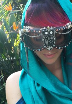 Wise Owl  Burning Man Goggles by katecleaves on Etsy