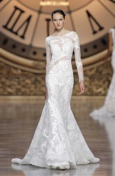 """""""Varel"""" long-sleeved sheer effect dress featuring Chantilly lace with Guipure appliqués by Atelier Pronovias. Photography: Courtesy of Atelier Pronovias. Read More: http://www.insideweddings.com/news/fashion/gorgeous-wedding-dresses-with-striking-illusion-details/2338/"""