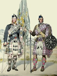 "When the painter MacLeay completed the watercolour on 24 November 1867, he declared ""Ewen & Lachlan MacPherson were the finest men yet taken for the series"" The one fair, by name Lachlan MacPherson 6 feet 3 inches in height - he was Champion of Scotland all Athletic Sports - in the Picture he holds the Old Green Banner of the Clan. The other man is Ewan MacPherson dark as a Spaniard, he stands 6 feet 2 and carries the Target made in France for Prince Charles Edward before he came to…"