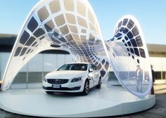 Volvo Pure Tension Pavilion that charges an electric car by Synthesis