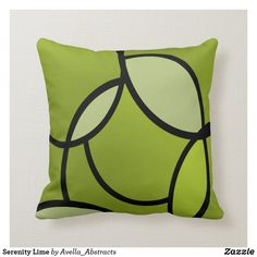 Shop Serenity Lime Throw Pillow created by Avella_Abstracts. Lime Green Cushions, Green Pillows, Accent Pillows, Decorative Cushions, Scatter Cushions, Black Abstract, Designer Throw Pillows, Custom Pillows
