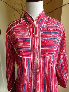 Lauren Moffatt ANTHROPOLOGIE RED BLUE WOMENS BLOUSE SHIRT TOP SILK BUTTON DOWN #LaurenMoffatt #ButtonDownShirt #Casual #western #anthropologie