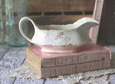 a sweet antique gravy boat #roses #antique #ceramic #pink #gravyboat #french