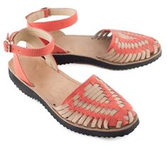 Women's Fire Coral Strapped Woven Leather Huarache Sandals