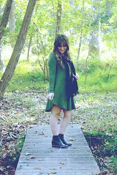 Long sleeve Green sweater shift dress! Matched with black booties and gold bullhead necklace