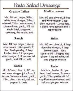 You don't have to get bored with the same ol… 6 Pasta Salad Dressing Recipes. You don't have to get bored with the same old mayo-based pasta dressing, try these 6 homemade variations to mix it up! Easy Pasta Salad, Pasta Salad Recipes, Sauce Recipes, Dishes Recipes, Beef Recipes, Chicken Recipes, Cooking Recipes, Cooking Pork, Cooking Ingredients
