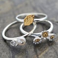 Silver And Gold Leaf Ring by Martha Jackson Sterling Silver, the perfect gift for Explore more unique gifts in our curated marketplace. Silver Pearls, Silver Jewelry, Daisy Jewellery, Silver Stacking Rings, Silver Rings, Daisy Ring, Leaf Ring, Christmas Gifts For Her, Gold Leaf