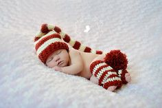 Newborn Baby Stocking Hat - Photo Props, Photography Props, Boys, Christmas, Girls,  Elf Hat, Striped Hat, (Available in Different Color)