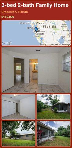3-bed 2-bath Family Home in Bradenton, Florida ►$159,000 #PropertyForSale #RealEstate #Florida http://florida-magic.com/properties/13674-family-home-for-sale-in-bradenton-florida-with-3-bedroom-2-bathroom