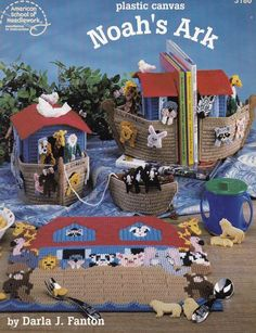 Noah's Ark, Home Decor Plastic Canvas Pattern Booklet American School of Needlework 3180 Bookends Placemats Coasters Tissue Box Cover & More
