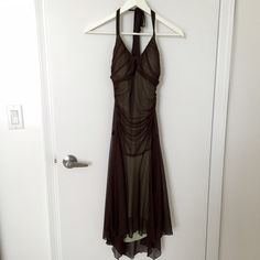 Halter prom dress Green lining brown mesh layer on front. Ruching details. Lightly padded. Worn once. Boutique Dresses Prom