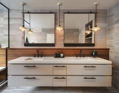 Double Vanity Bathroom Mirrors: Ideas and Inspiration | Hunker Bathroom Styling, Double Vanity Bathroom, Double Vanity Unit, Double Mirror Vanity, Vanity, Floating Vanity, Interior, Bathroom Farmhouse Style, Bathroom