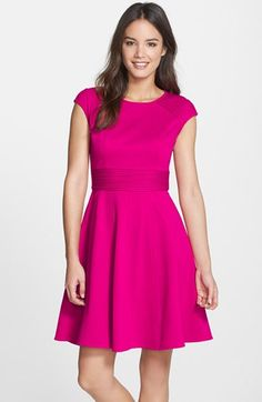 Eliza J Pintucked Waist Seamed Ponte Knit Fit & Flare Dress available at #Nordstrom