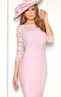 5007586 - Cabotine 5007586 Pink Occasion & mother of the bride dress with lace 3/4 length sleeves available at Blessings Mother of the bride boutique brighton East Sussex, BN1 5GG. Telephone: 01273 505766