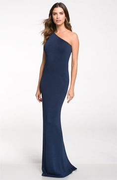 St. John Collection One Shoulder Shimmer Milano Knit Gown available at Nordstrom