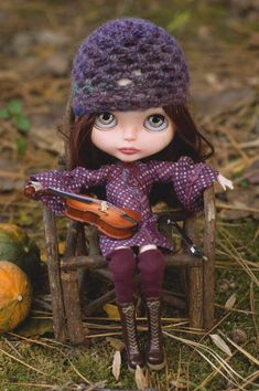 Country Polka Dots.  Bohemian Dress, Crocheted Hat And Stockings For Blythe Doll