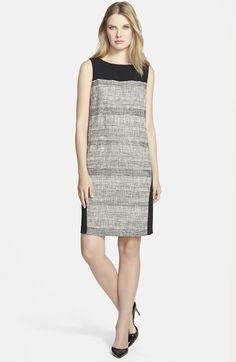 BOSS HUGO BOSS BOSS 'Dalomi' Tweed Panel Shift Dress available at #Nordstrom   $595.00