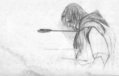 Boromir's death by on DeviantArt Sick Drawings, Drawing Sketches, Hobbit Art, The Hobbit, Think Tattoo, Death Art, Jrr Tolkien, Legolas, Pencil Portrait