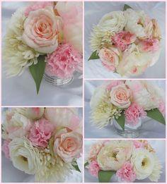 Blush pink & ivory centerpieces