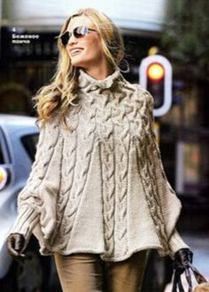 Knitting Patterns Sweter Chic poncho with knitting needles and cuffs. Description of knitting, c . Knit Vest Pattern, Poncho Knitting Patterns, Lace Knitting, Knitting Books, Knitting Needles, Crochet Poncho With Sleeves, Knitted Poncho, Knit Baby Pants, Baby Girl Dress Patterns