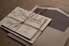 Rustic letterpress wedding invite