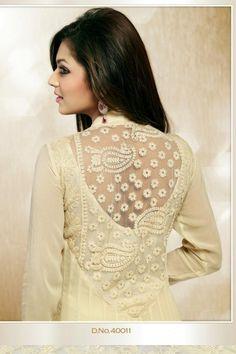 Cream Faux Georgette and Net Salwar kameez with Zardosi Work and Lace Work Indian Dresses, Indian Outfits, Off White Designer, Net Blouses, Desi Wear, Kurta Designs, India Fashion, Indian Wear, Salwar Kameez