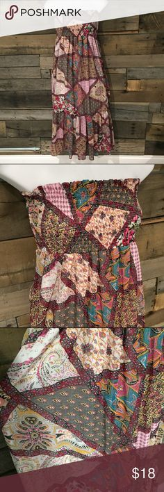 "Dots patchwork print strapless dress. Size medium Excellent condition Dots patchwork print strapless dress. Size medium. Polyester 40"" long. Dots Dresses Strapless"