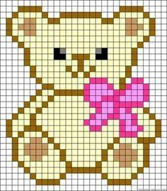 Teddy bow perler bead pattern - Reality Worlds Tactical Gear Dark Art Relationship Goals Cross Stitch Cards, Cross Stitch Baby, Cross Stitch Animals, Cross Stitching, Cross Stitch Embroidery, Hand Embroidery, Kandi Patterns, Alpha Patterns, Beading Patterns