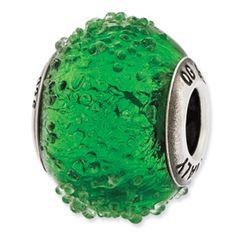 Reflection Beads Sterling Silver Italian Murano Green Textured  Glass Bead