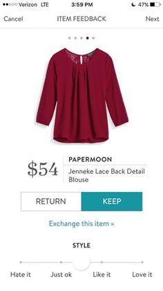 StitchFix 11/21/17....I kind of like this red, since it looks like a cool tone.  Maybe I'll call it burgundy.  Top may work depending on fabric.