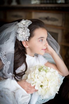 Modern and darling First Communion flower headpiece and veil