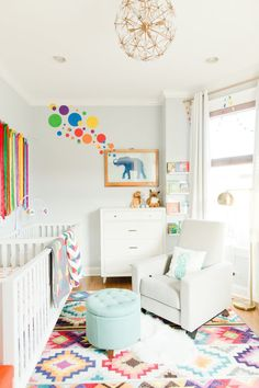 Decorating a gender-neutral nursery? Create a look you and your little one will love with these fresh, gender-neutral nursery palette ideas. Neutral Nursery Colors, Baby Room Neutral, Room Colors, Gender Neutral, Neutral Nurseries, Unisex Nursery Colors, Bright Nursery, Rainbow Nursery, Paint Colors