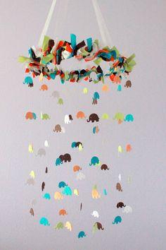 Elephant Nursery Mobile in Turquoise  by LoveBugLullabies