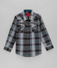 Love this Black & Teal Plaid Zip Pocket Button-Up - Toddler & Boys on #zulily! #zulilyfinds