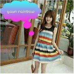 Gaun Rajutan Motif Rainbow