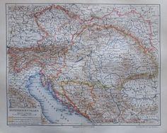ÖSTERREICH-UNGARN 1896 alte Landkarte Karte Antique Map Lithographie