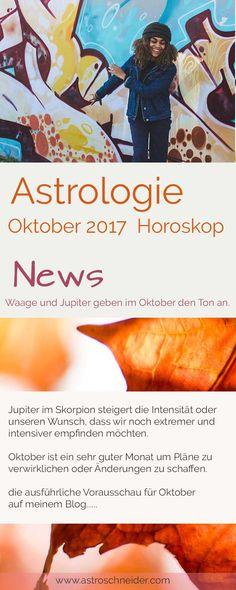 Astrologie Horoskop Oktober - Wie stehen die Sterne? Oktober hat eine sehr starke Waage-Intensität. Dadurch rücken Themen, im Zusammenhang mit der Gesellschaft oder unseren Umgang damit, in den Vordergrund. Skorpione gehen mehr in die Tiefe und lösen größere Emotionen aus. Wir reagieren vielleicht noch mehr emotionaler und leidenschaftlicher als sonst. Da Jupiter diese Energie der Emotionalität noch stärker fördert. Tarot, Movie Posters, Blog, Zodiac Signs, Scale, Film Poster, Blogging, Billboard, Film Posters