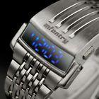 INFANTRY Mens LED Digital Wrist Watch Date Month Backlight Stainless Steel Sport