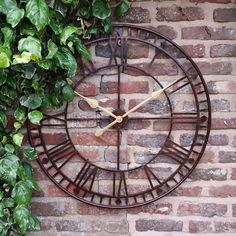 Large Outdoor Garden Wall Clock With Giant Open Face Big Roman Numerals for sale online Outdoor Wall Clocks, Outdoor Walls, Westminster, Roman Garden, Garden Clocks, Skeleton Clock, Thing 1, Large Clock, Garden Inspiration