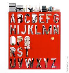 Шкаф-азбука / Aakkoset (так называет алфавитное творение от KAYIWA) можно использовать как книжную полку или как межкомнатную перегородку. Aakkoset можно заказать в одном из 8 различных цветов — черный, синий, зеленый, оранжевый, красный, фиолетовый, белый и желтый.