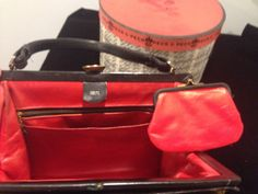 Black leather Kelly frame handbag with red by AlleyCatzVintage, $54.00