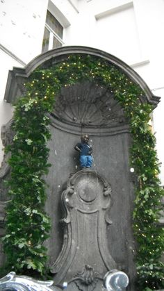 The Mannekin Pis, otherwise known as the peeing boy.  Brussels, Belgium
