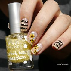 negative space bee nailart - inspired by Bumble Bee Nails, Tough As Nails, Bee Design, Bee Theme, Negative Space, Short Nails, Nail Artist, Natural Nails, Toe Nails