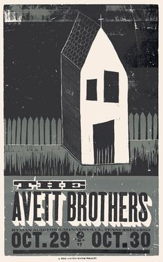 The Avett Brothers, 2-color letterpress show poster, 2010