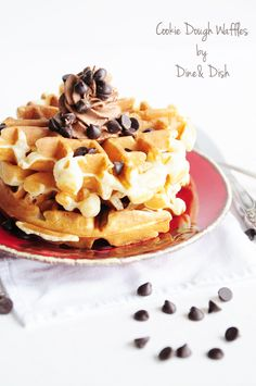 Cookie Dough Waffles - an indulgent way to have cookies for breakfast!
