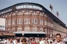 Ebbets Field, home of the Brooklyn Dodgers, I wish I could go back in time and watch a game here. I love the rounded corners of the stadium architecture.